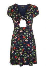 Floral print bow front dress at Topshop