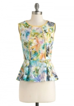 Floral print peplum top with yellow trim at Modcloth