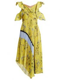 Floral-print pleated-satin dress at Matches