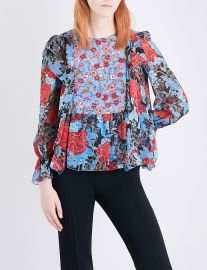 Floral-print silk crepe de chine blouse by See By Chloe at Selfridges