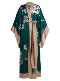 Floral-print silk-satin kimono robe at Matches