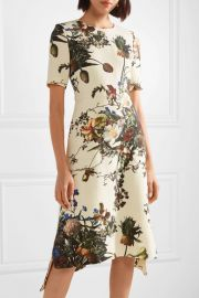 Floral-print wool midi dress at Net A Porter