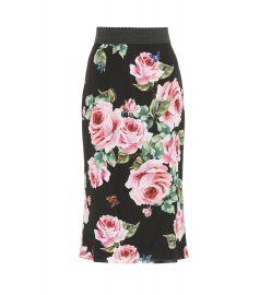 Floral-printed silk skirt at Mytheresa