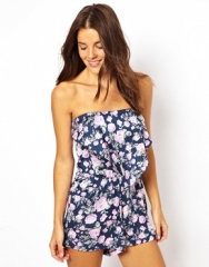 Floral strapless romper at Asos