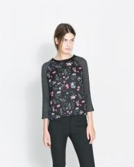 Floral wool tshirt at Zara