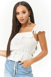 Flounce Eyelet Top at Forever 21