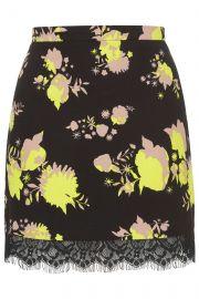 Flower Print Mini Skirt at Topshop