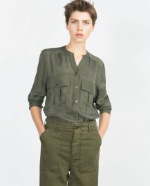 Flowing Shirt in green at Zara