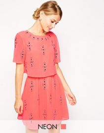 Fluro Cap Sleeve Embellished Dress at Asos