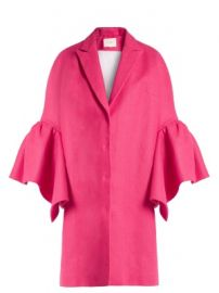 Fluted-sleeved linen coat at Matches