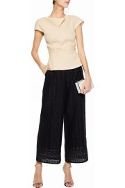 Fluted wool-crepe top at The Outnet
