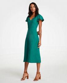 Flutter Sleeve Linen Blend Midi Dress  Ann Taylor at Ann Taylor