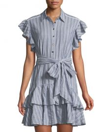 Flutter-Sleeve Striped Shirtdress by Rebecca Taylor at Last Call