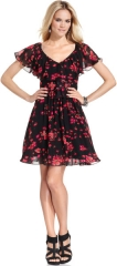 Flutter sleeve dress by Betsey Johnson at Macys