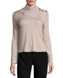 Fold-Neck Slit-Sleeve Cashmere Sweater at Neiman Marcus