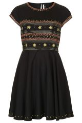 Folk Embroidered Flippy Dress at Topshop