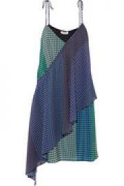 Foulard printed wrap-effect silk-twill mini dress at The Outnet