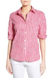 Foxcroft Crinkled Gingham Shirt in Pink at Nordstrom