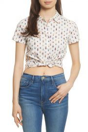 Frame Denim   Shrunken Tie Front Crop Top   Nordstrom Rack at Nordstrom Rack