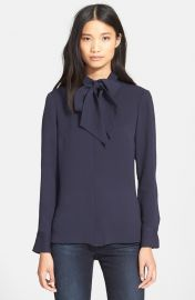 Frame Denim Le Bow Tie Neck Silk Shirt in Navy at Nordstrom