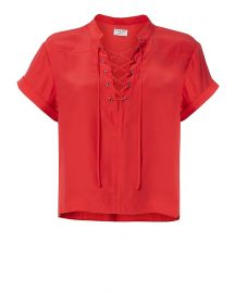 Frame Lace-Up Neckline Blouse at Intermix