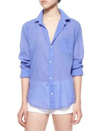 Frank  Eileen Barry Long-Sleeve Voile Shirt  Indigo at Neiman Marcus