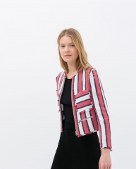 Frayed Striped Jacket at Zara