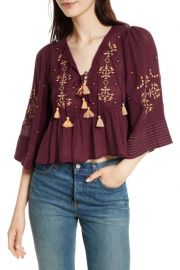 Free People   Embroidered Crop Top   at Nordstrom Rack