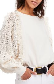 Free People Faff Fringe Sweater in Ivory at Nordstrom