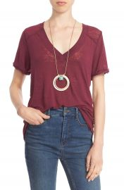 Free People  Pearls  Raw Edge V-Neck Tee at Nordstrom