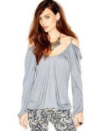 Free People Adelia Long-Sleeve Off-The-Shoulder Boho Blouse in grey at Macys