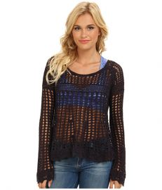Free People Annabelle Crochet Pullover Midnight Combo at 6pm