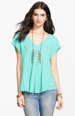 Free People At the Seams Linen Blend Tee in Aqua at Nordstrom