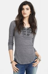 Free People Battalion Embellished Thermal Top in Grey at Nordstrom