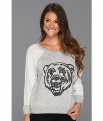 Free People Big Bad Varsity Sweatshirt Heather Grey Combo at 6pm