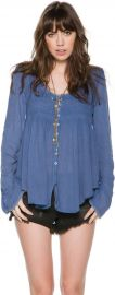 Free People Blue Bird Smocked Top at Swell