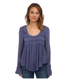 Free People Blue Bird Smocked Top Washed Indigo at 6pm