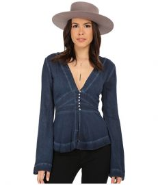 Free People Boho Sleeve Blouse Deep Indigo at Zappos