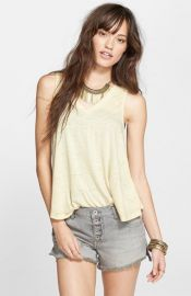 Free People Breezy Seam Detail Slub Knit Tank in Yellow at Nordstrom
