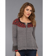 Free People Cabin In The Woods Long Sleeve Charcoal Combo at 6pm