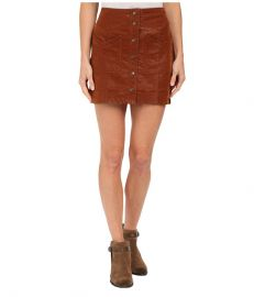 Free People Come A Little Closer Faux Leather Skirt Toffee at Zappos