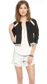 Free People Crochet Inset Baseball Jacket at Shopbop