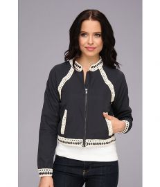 Free People Crochet Inset Baseball Jacket Washed Black at 6pm