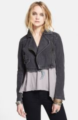 Free People Denim Crop Moto Jacket at Nordstrom