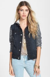 Free People Denim andamp Knit Jacket in Pumice black at Nordstrom