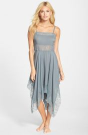 Free People Dobby Dot Lace Trim Trapeze Slip in Vapor Blue at Nordstrom
