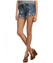 Free People Dolphin Hem Denim Cutoff Short Eagle Wash at Zappos