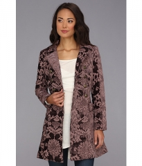Free People Downtown Brocade Coat Plum at 6pm
