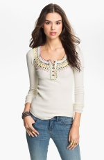 Free People Embroidered Henley at Nordstrom