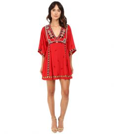 Free People Embroidered Tulum Mini Dress Red at 6pm